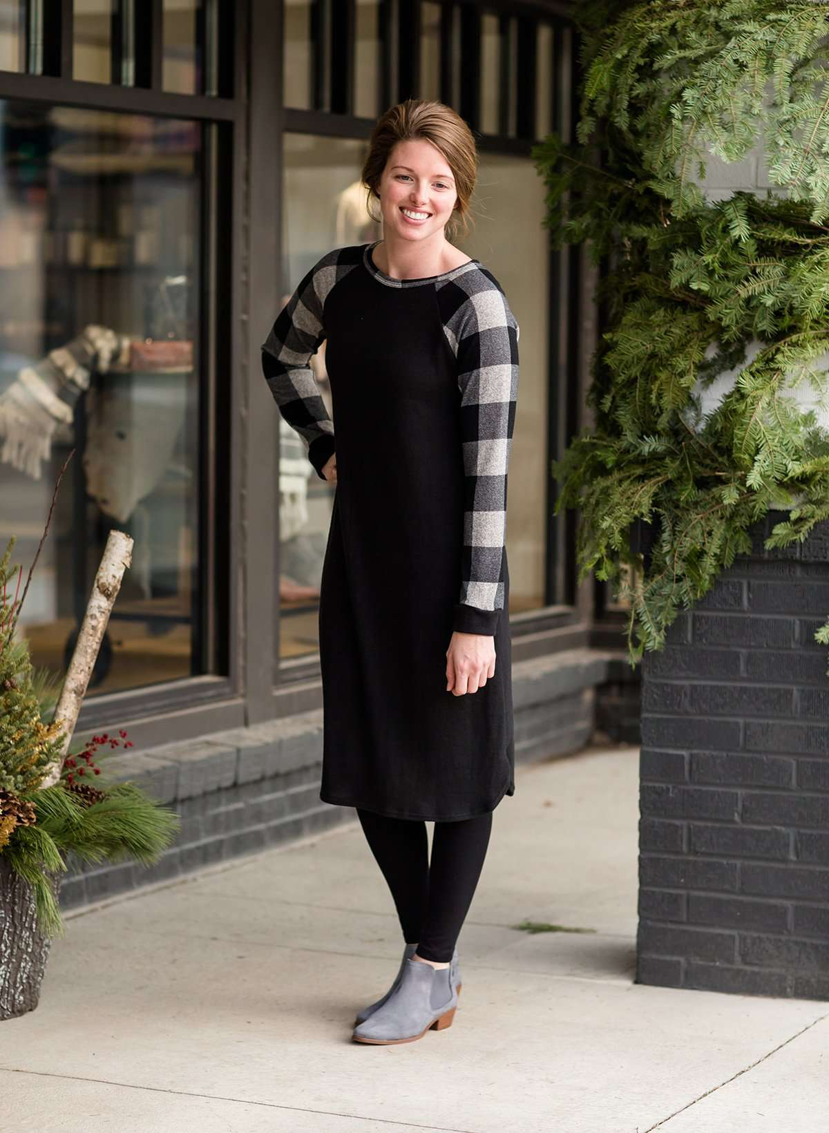 Plaid Fleece Knit Midi Dress - FINAL SALE