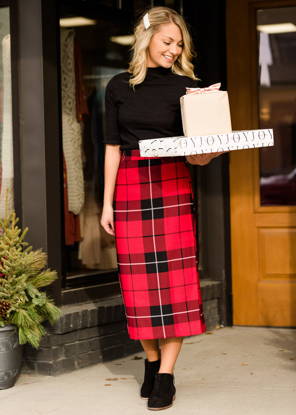 Inherit Co.  | Modest Women's Skirts | High Waisted Buffalo Check Midi Skirt - FINAL SALE