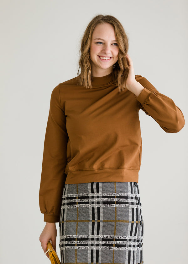 Inherit Co.  | Modest Women's Tops | Mocha Banded Detail Sweatshirt