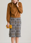 Inherit Co.  | Modest Women's Skirts | Plaid Stretch Waist Pencil Skirt