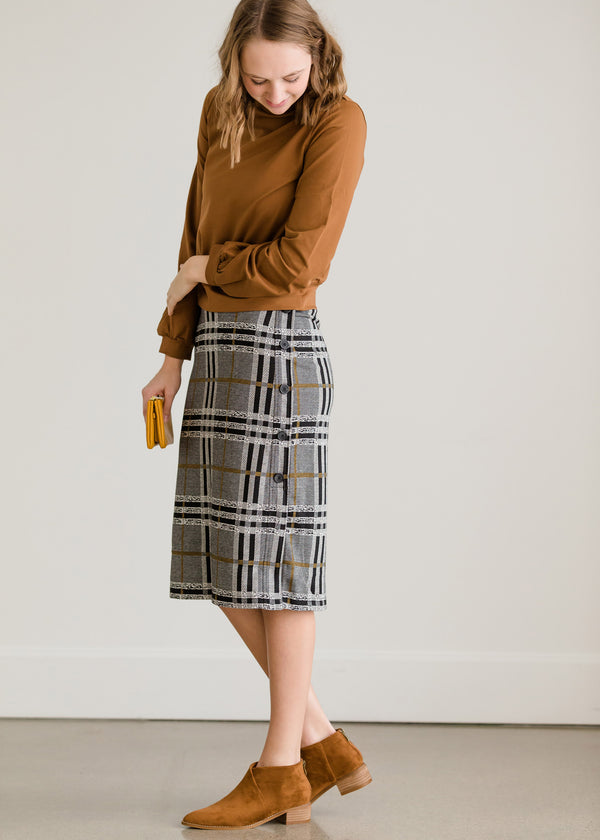 Inherit Co.  | Modest Women's Skirts | Plaid Stretch Waist Pencil Skirt - FINAL SALE