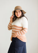 Inherit Co.  | Modest Women's Tops | Warm Color Block Striped Sweater