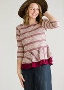 Inherit Co.  | Modest Women's Tops | Ruffle Striped Peplum Top