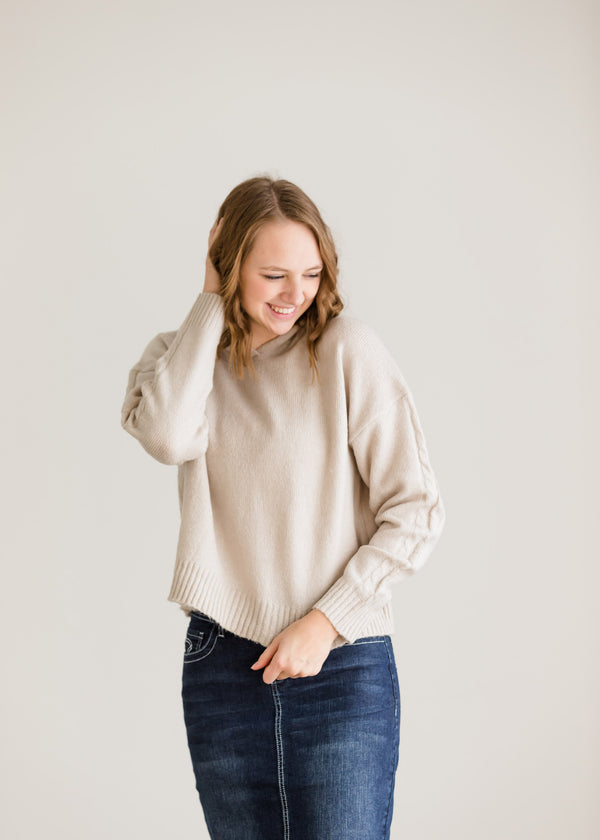 Inherit Co.  | Modest Women's Tops | Cable Sleeve Hooded Sweater - FINAL SALE