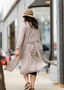 Tan Striped Open Front Duster Cardigan - FINAL SALE