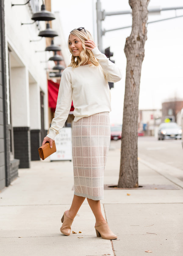 Inherit Co.  | Modest Women's Skirts | Feminine Plaid Sweater Skirt - FINAL SALE