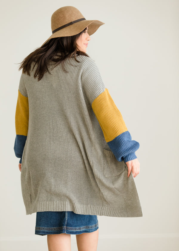 Inherit Co.  | Modest Plus Size Clothing | Color Block Duster Cardigan