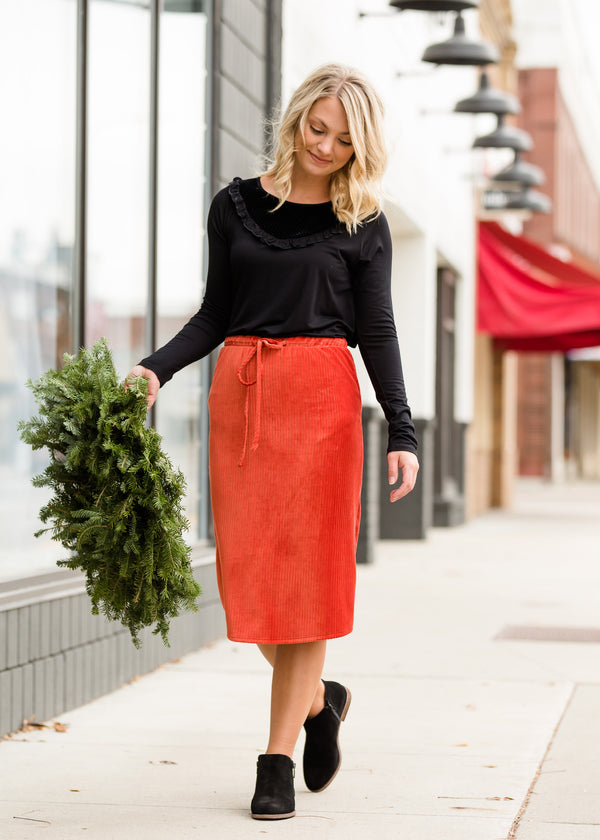 Inherit Co.  | Modest Women's Skirts | Drawstring Corduroy Velvet Midi Skirt - FINAL SALE