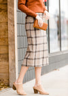 Plaid Pencil Midi Skirt-FINAL SALE