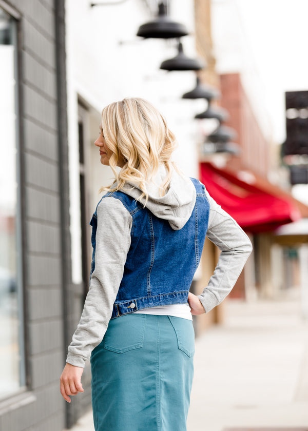 Inherit Co.  | Modest Women's Tops | Hooded Denim Jacket with Knit Sleeves - FINAL SALE