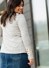 Button Sleeve Striped Sweater - FINAL SALE
