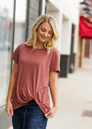 Short Sleeve Front Knot Top - FINAL SALE