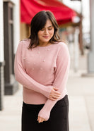 Dolman Sleeve Pearl Detail Sweater - FINAL SALE