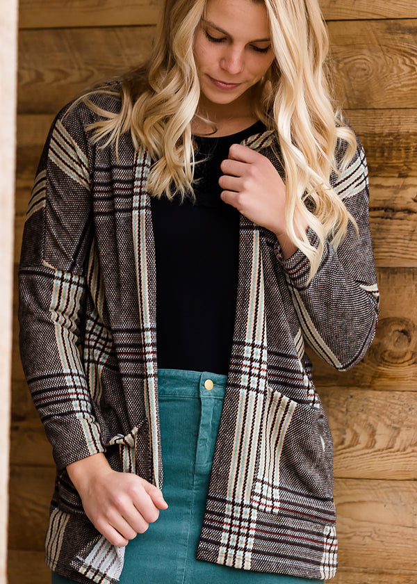 Inherit Co.  | Modest Women's Tops | Patch Pocket Plaid Cardigan
