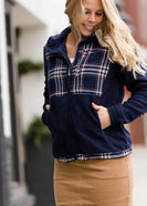 Inherit Co.  | Women's New Arrivals | Plaid Detail Zip Up Fleece Jacket