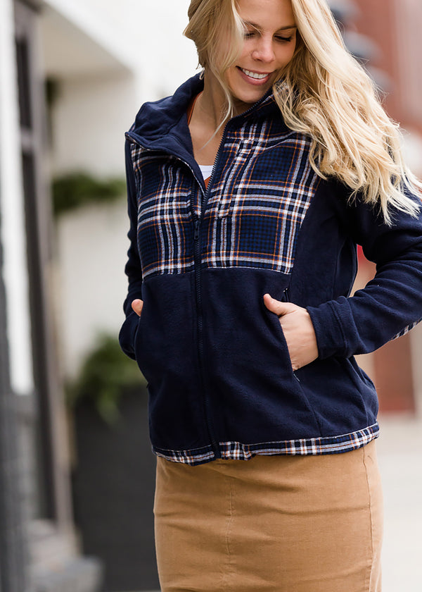 Inherit Co.  | Modest Women's Tops | Plaid Detail Zip Up Fleece Jacket