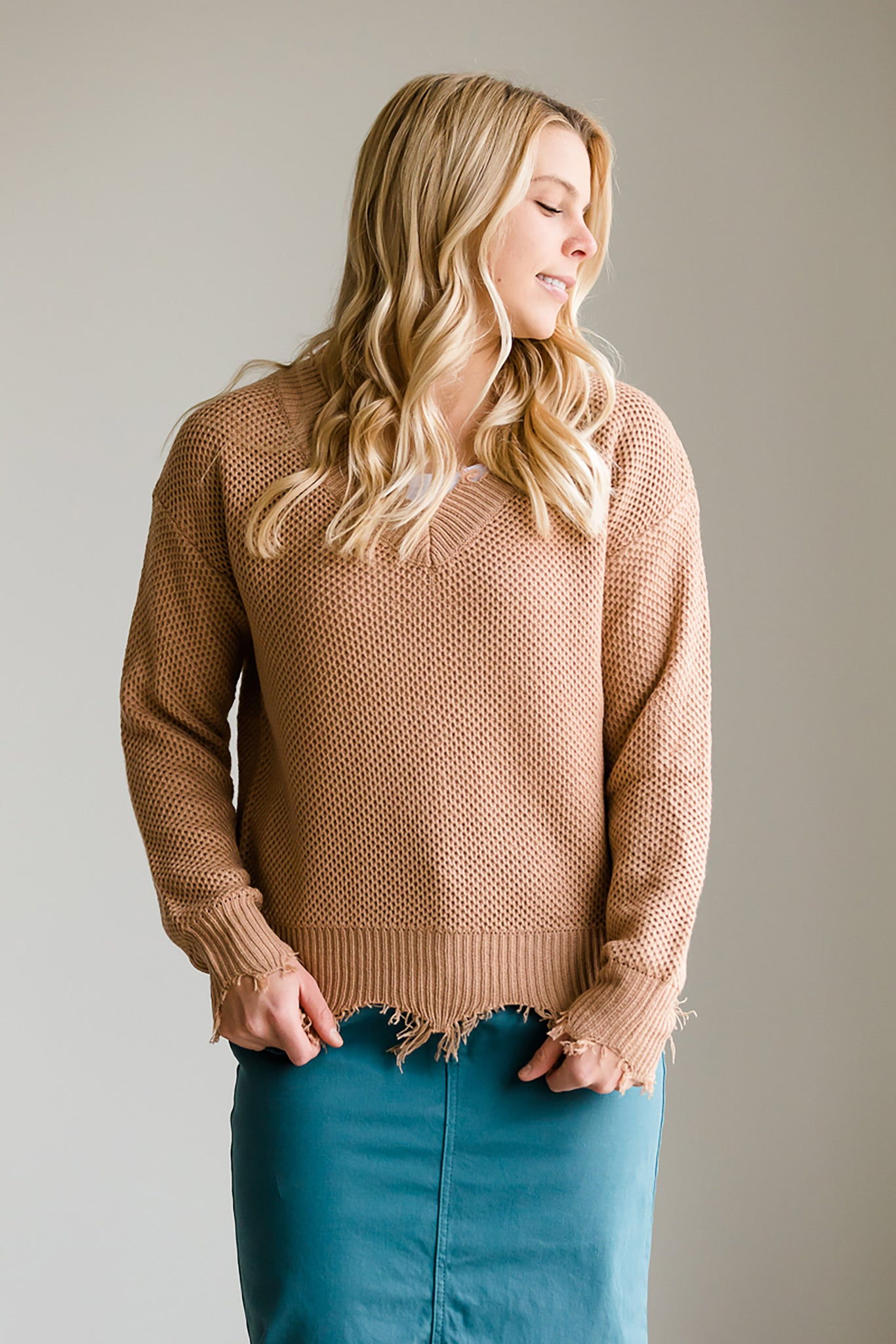 Solid Front Slouch Raw Hem Sweater - FINAL SALE