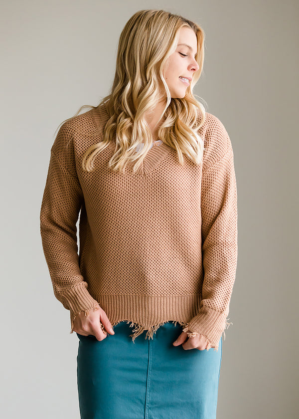Inherit Co.  | Modest Women's Tops | Solid Front Slouch Raw Hem Sweater