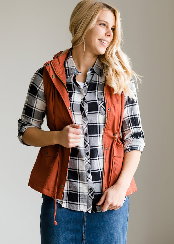 Inherit Co.  | Modest Women's Tops | Buffalo Plaid Roll Sleeve Top