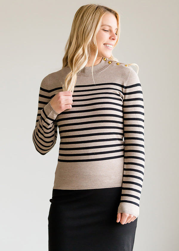 Inherit Co.  | Modest Women's Tops | Striped Mock Turtleneck