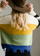 Color Block Slouch Raw Hem Sweater - FINAL SALE