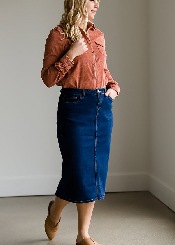 Inherit Co.  | Modest Women's Skirts | Remi Dark Denim Midi Skirt - FINAL SALE