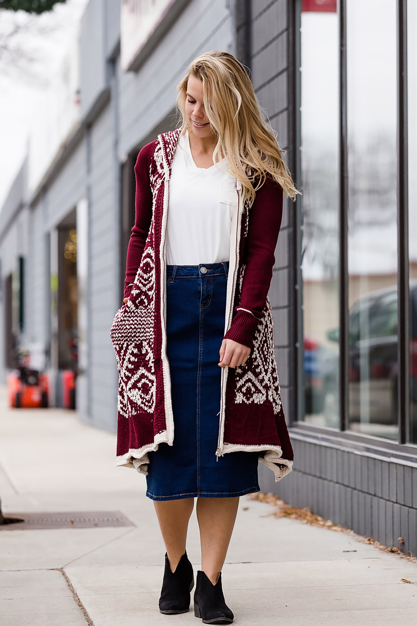 Tribal Zip Up Duster Cardigan - FINAL SALE