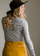 Striped Contrast Sleeve Top - FINAL SALE