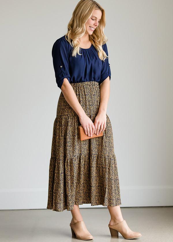 Inherit Co.  | Modest Women's Skirts | Leopard Print Flowy Skirt