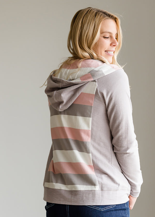 Inherit Co.  | Modest Women's Tops | Striped Back Zip Up Hooded Sweatshirt