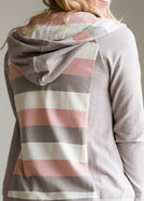 Striped Back Zip Up Hooded Sweatshirt - FINAL SALE