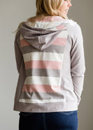 Inherit Co.  | Women's New Arrivals | Striped Back Zip Up Hooded Sweatshirt