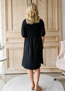 Inherit Co.  | Women's Modest Dresses | Smocked Front Black Midi Dress