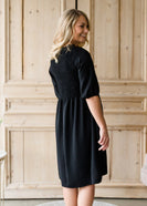 Smocked Front Black Midi Dress - FINAL SALE