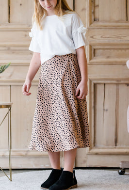 Inherit Co.  | Girls Modest Clothing | Raw Hem Long Denim Skirt |