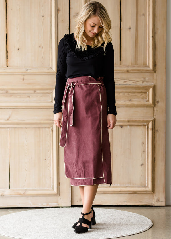Inherit Co.  | Modest Women's Skirts | Suede Wrap Midi Skirt