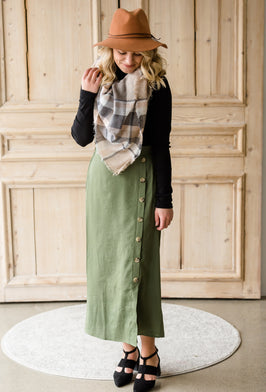 Inherit Co.  | Modest Women's Skirts | Plaid Pencil Midi Skirt |