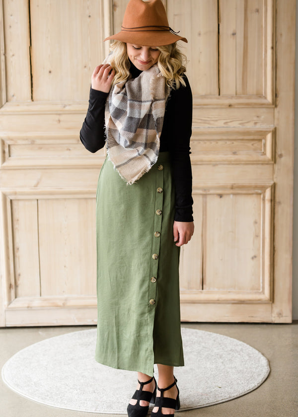 Inherit Co.  | Modest Women's Skirts | Olive Side Detail Midi Skirt