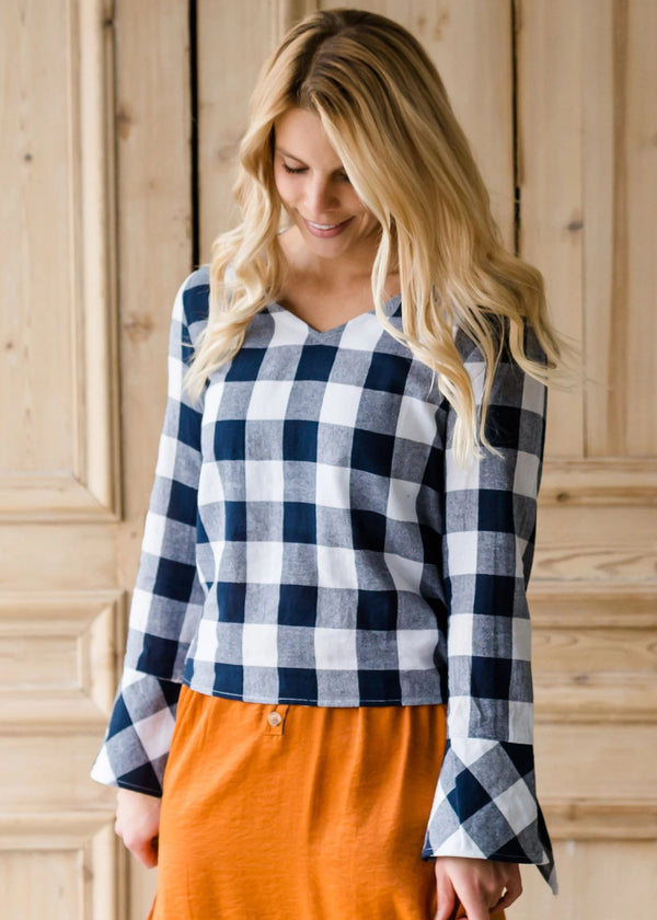 Inherit Co.  | Modest Women's Tops | Buffalo Check Print V-Neck Top