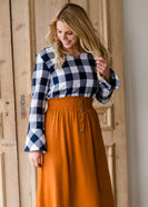 Inherit Co.  | Modest Women's Skirts | Smock Waist Button Up Midi Skirt