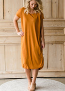 Raw Edge Drop Shoulder Midi Dress - FINAL SALE