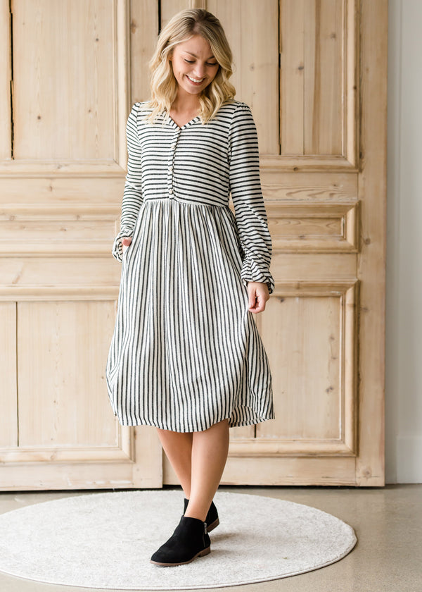 Inherit Co.  | Women's Modest Dresses | Striped Balloon Sleeve Midi Dress