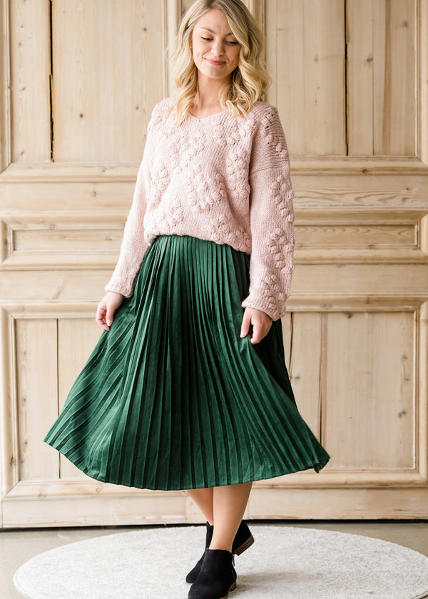 Inherit Co.  | Modest Women's Skirts | Pleated Velvet Midi Skirt
