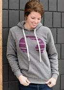 Triblend Minnesota hoodie on a young woman, the hoodie is navy with a gold MN emblem on front and gray with a purple MN emblem on front.
