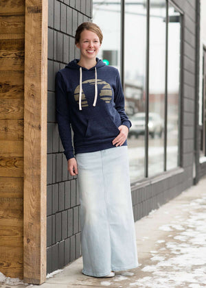 Women's long light wash modest denim-jean skirt with lace pockets