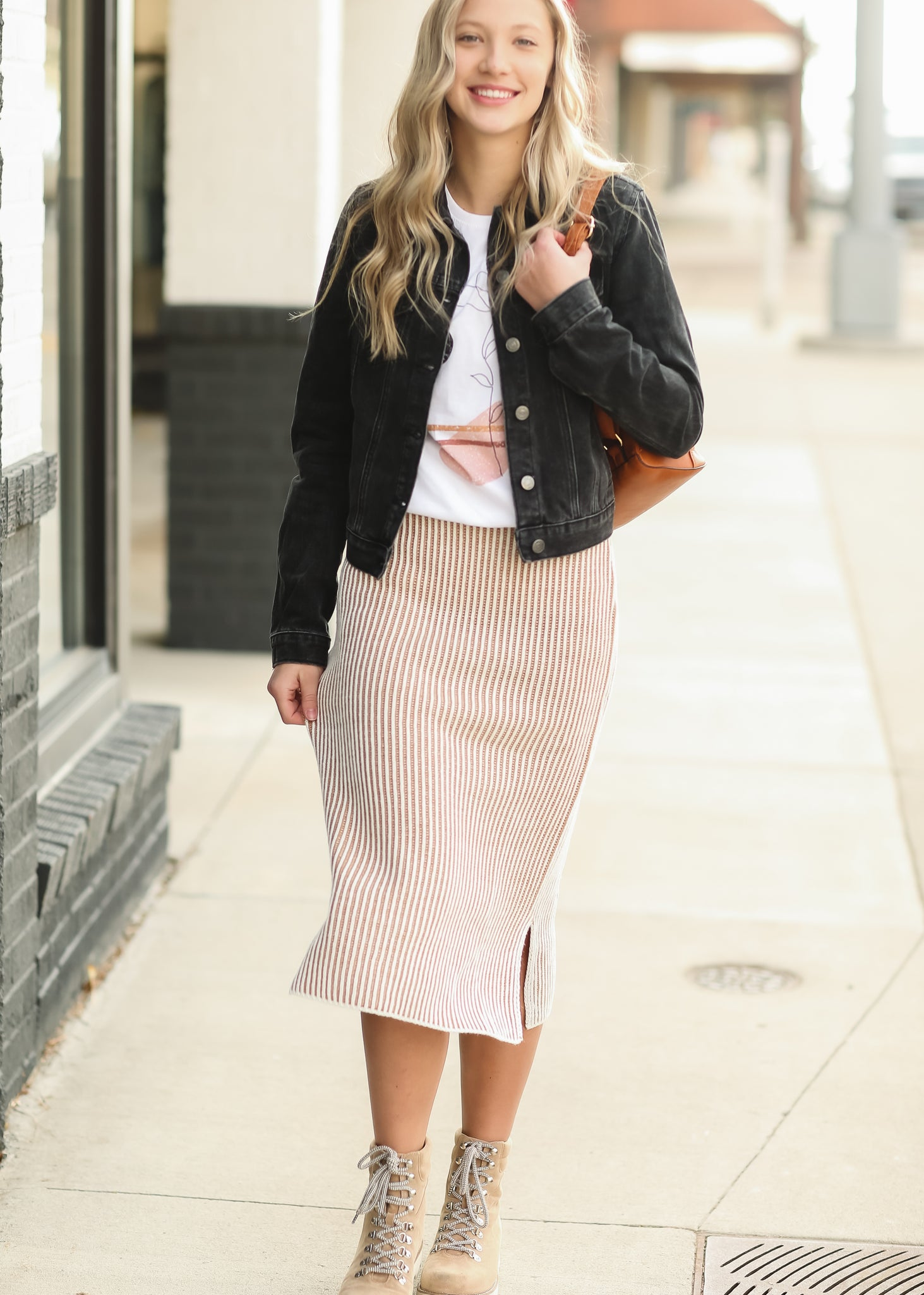 Two Tone Camel Sweater Skirt - FINAL SALE