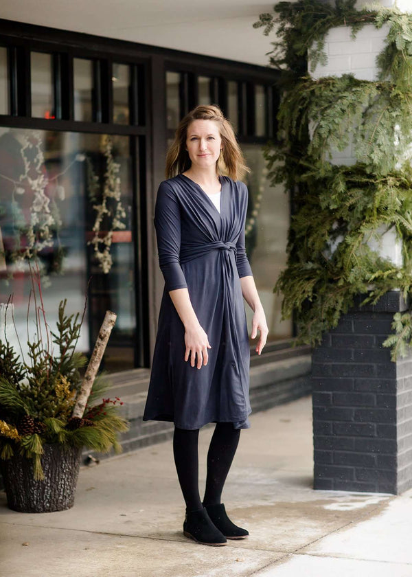 Inherit Co.  | Women's Modest Dresses | Twist Front Midi Dress-FINAL SALE