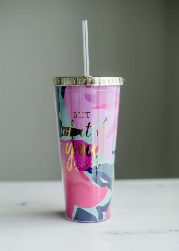 What if you can purple and pink straw tumbler