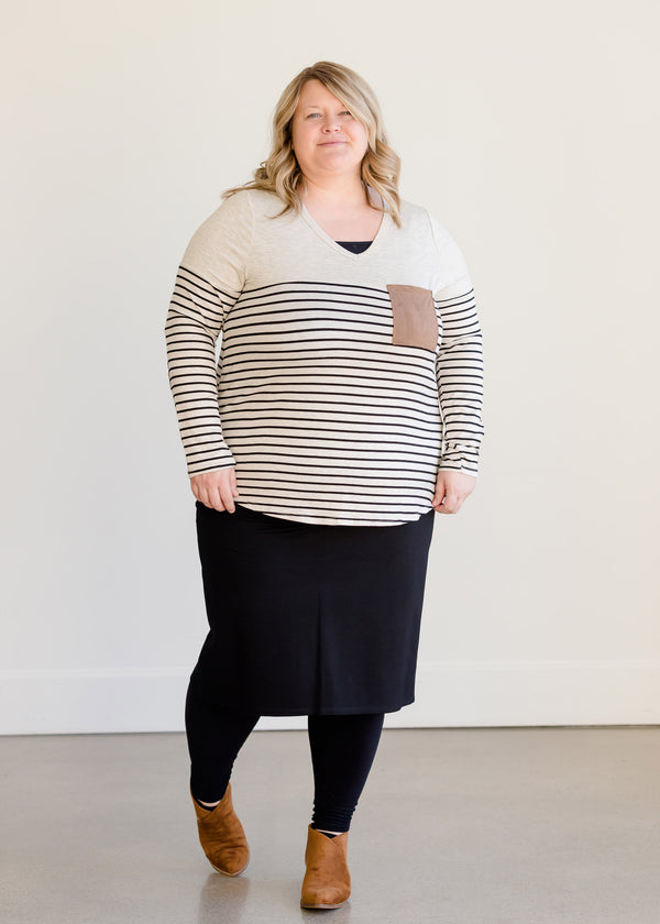 Inherit Co.  | Modest Plus Size Clothing | Neutral Print Pocket Top