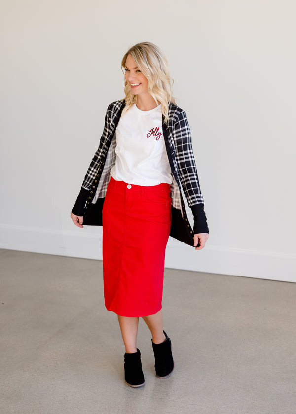 Inherit Co.  | Modest Women's Skirts | Remi Red Midi Skirt